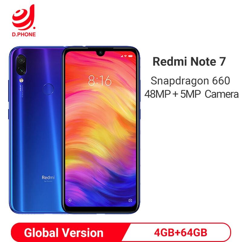 "Versão global xiaomi redmi nota 7 4 gb 64 gb smartphone snapdragon 660 octa núcleo 4000 mah 6.3 ""48mp câmera dupla telefone móvel"