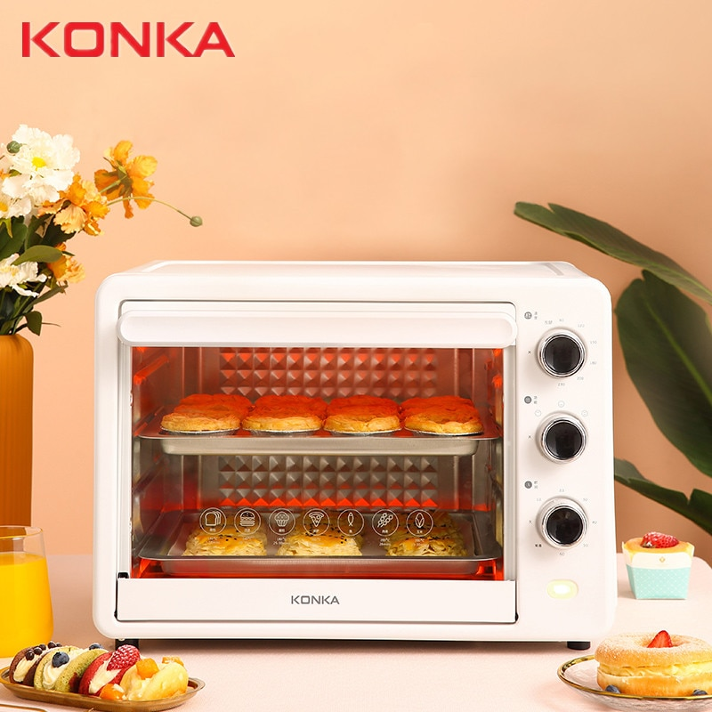 Konka فرن كهربائي المنزلية الخبز متعددة الوظائف فرن الهواء الصغيرة 30 لتر ماكينة بطاطس أتوماتيكية ذات سعة كبيرة فرن الفاكهة الجافة الأبيض