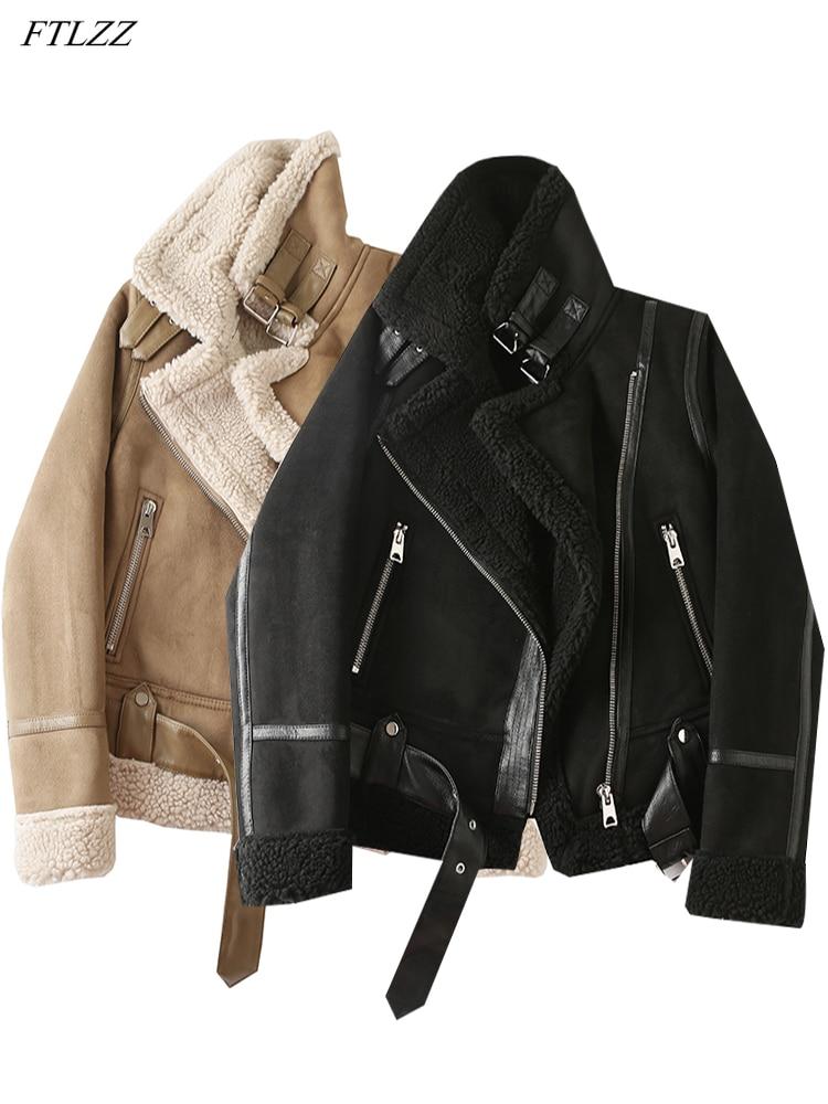 FTLZZ الشتاء فو القص الغنم سترات من الجلد المرأة السائق معطف سميك دافئ الجلد المدبوغ الحملان قصيرة دراجة نارية البني معاطف