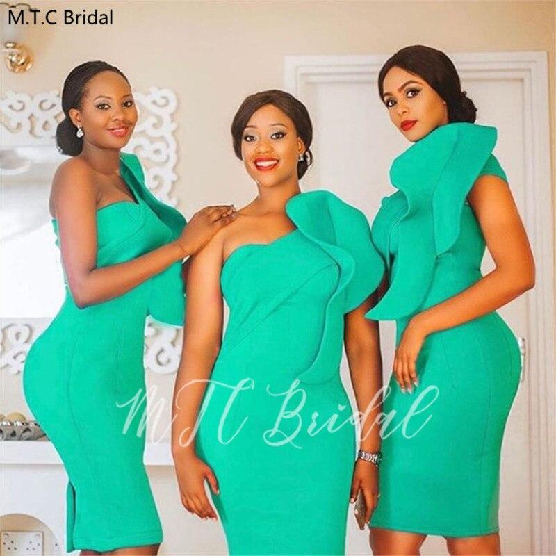 Vestidos De dama De honor De menta verde corto un hombro vaina rodilla longitud De talla grande negro niñas vestido De fiesta De boda vestido De noche