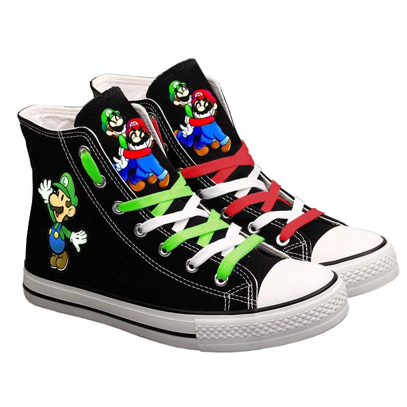 Super Mario Printed Men Sneakers Cute Women Cartoon Canvas Casual Shoes Teenagers Boys and Girls Stu