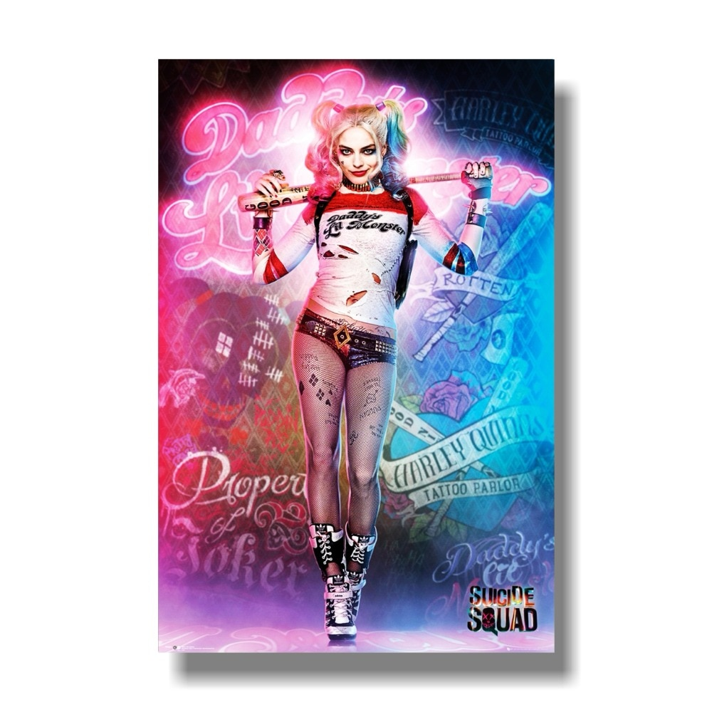 Póster de escuadrón suicida, película Harley Quinn, buena noche, tamaño 24x36 pulgadas, póster decorativo para el hogar