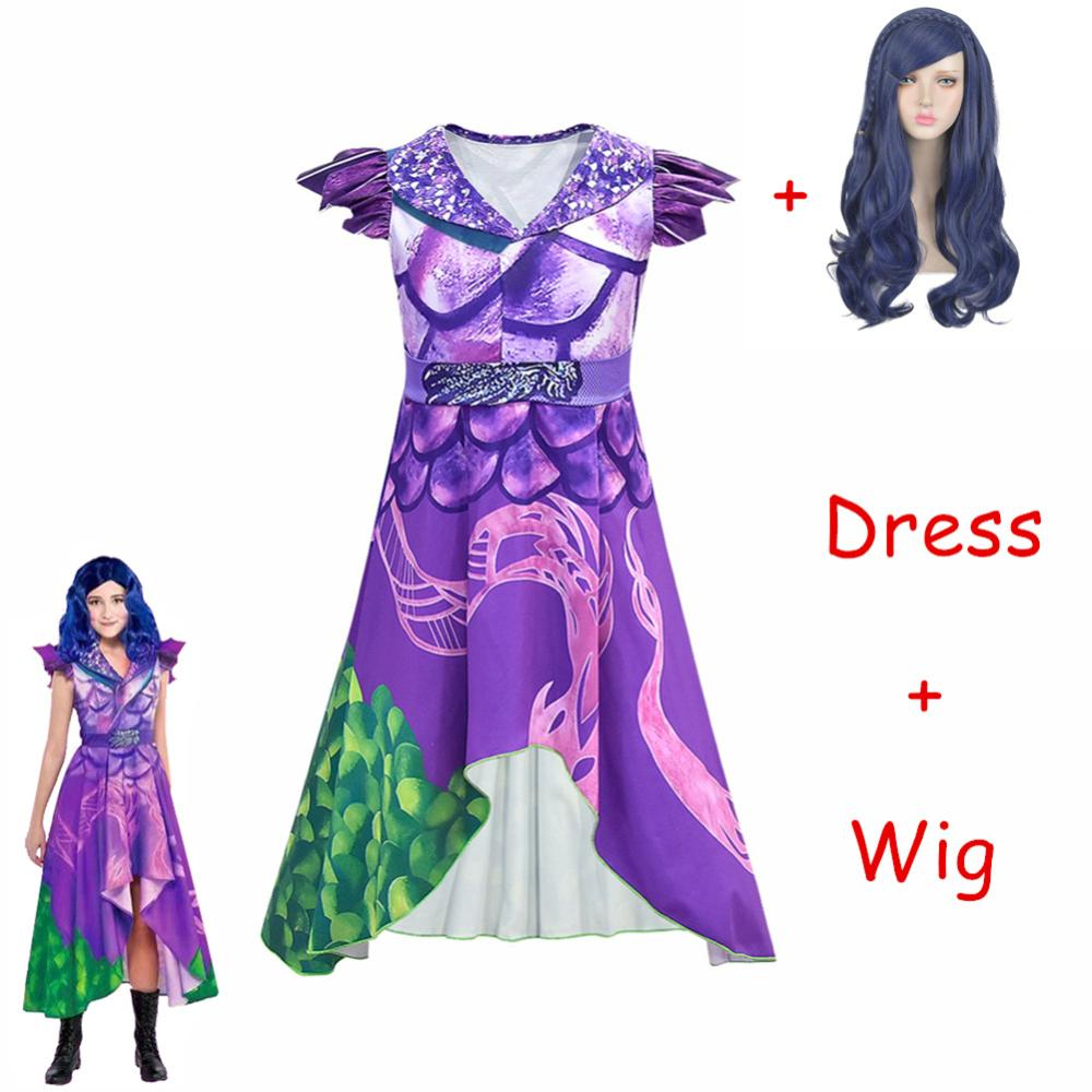 Gran oferta de disfraz de Descendants 3 Evie, conjunto completo de disfraz Mal, Top con pantalones para adultos y mujeres, disfraz para Halloween y Carnaval para niñas