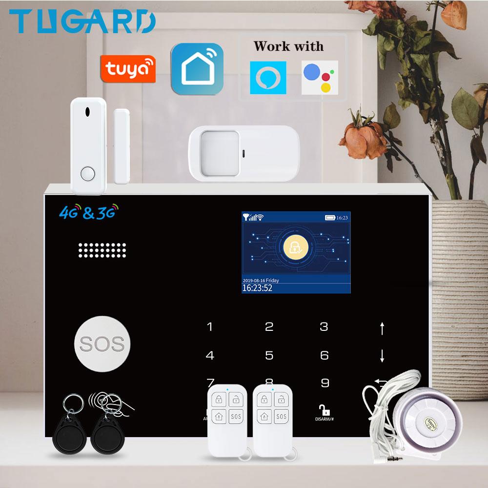 TUGARD WiFi 3G 4G Security Alarm System,Tuya Smart Home Burglar Alarm Kit with 433MHz Wireless Detectors Remote Arm Disarm