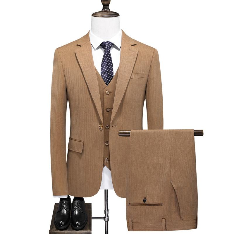 (Jacket+Vest+Pants) Men's Suits 3 Pieces Set Flat Slim Fit Casual Tuxedos For Groom's Wedding Dress Prom costume homme S-5XL