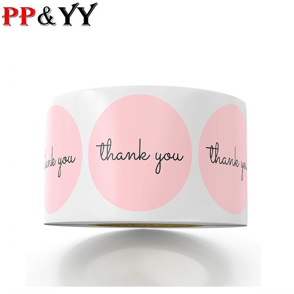 100-500pcs Thank You StickersPink Stickers for Company Giveaway & Birthday Party Favors Labels & Mailing Supplies Festival
