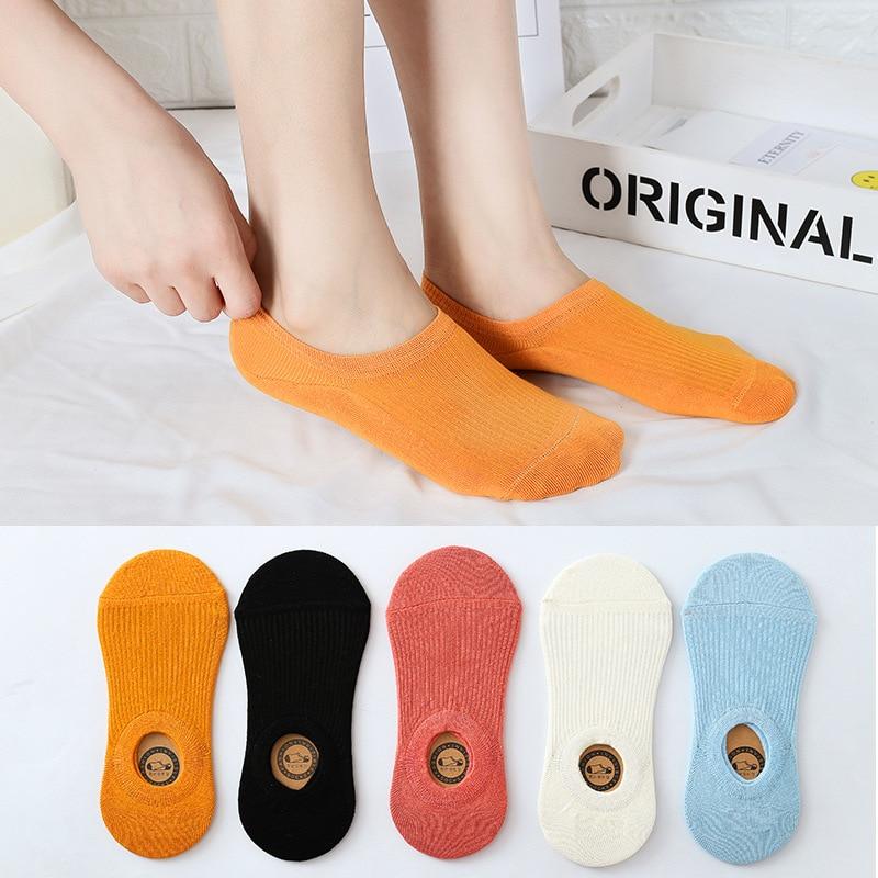 Elifashion Women Invisible Shallow Mouth Low-top Socks Boat Socks Korean Non-slip Sports Simple Female Cotton Socks Low Tube