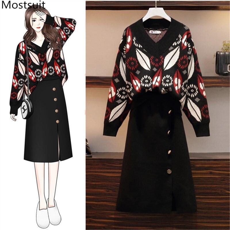 2020 Spring Autumn Elegant 2 Piece Set Women Plus Size Elegant Fashion Long Sleeve Sweater Pullover Tops+skirt Set Suit Outfits