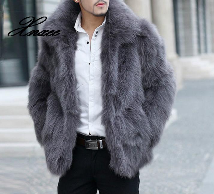 Xnxee فو الفراء معاطف الرجال الملابس طويلة الأكمام رفض طوق مشعر معطف الشتاء الدافئة أبلى مشعر معطف