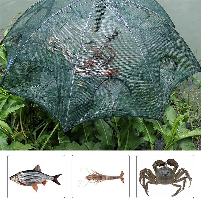 2 uds paraguas red de pesca automática plegable trampa para peces fundida red de pesca plegable para peces piscardo