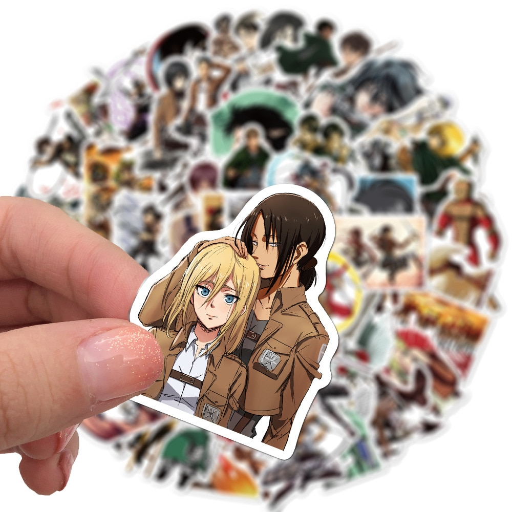 50Pcs/lot Japanese Anime Attack on titan Mikasa Levi Eren Stickers For Car Phone Luggage Laptop Bicycle Decal Sticker