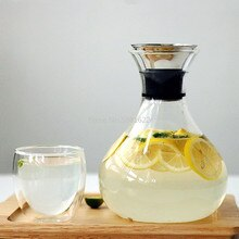 1L/1.5L Carafe en verre Transparent avec couvercle en acier inoxydable Carafe à eau Carafe en verre jus de lait cruche cadeaux bouteille deau bouilloire