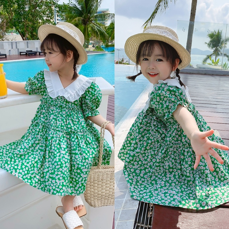 Girl Summer Cute Lady Doll O-Neck Collar Floral Lovely Dress Gentle Temperament Pink Dress Bridesmaid Dresses