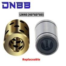 1pc 40x60x80mm haute qualité linéaire graphite cuivre ensemble portant cuivre bague huile auto-lubrifiant roulement JDB LM40UU 40mm
