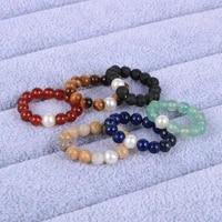 women girls 4mm natural stone tiger eye onyx amethysts turquoises beaded rings aaaa freshwater pearls adjustable rings jewelry