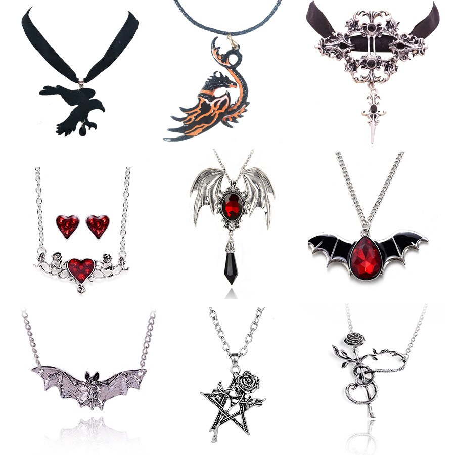 AliExpress - Cool Gothic Plant Animal Necklace for Women Men Gragon Bat Eagle Heart Rose Pendant Necklace Costume Party Jewelry Gifts