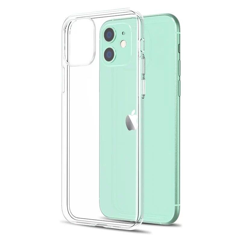 Claro silicone macio capa traseira para iphone 11 12 pro xs max x 8 7 6s plus 5 se xr ultra fino macio tpu transparente caso