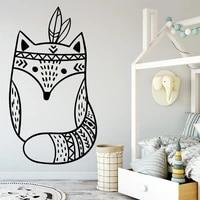 Mode dessin anime renard stickers muraux Pvc Mural Art bricolage affiche pour enfants chambre salon decor a la maison Art Mural decalcomanie
