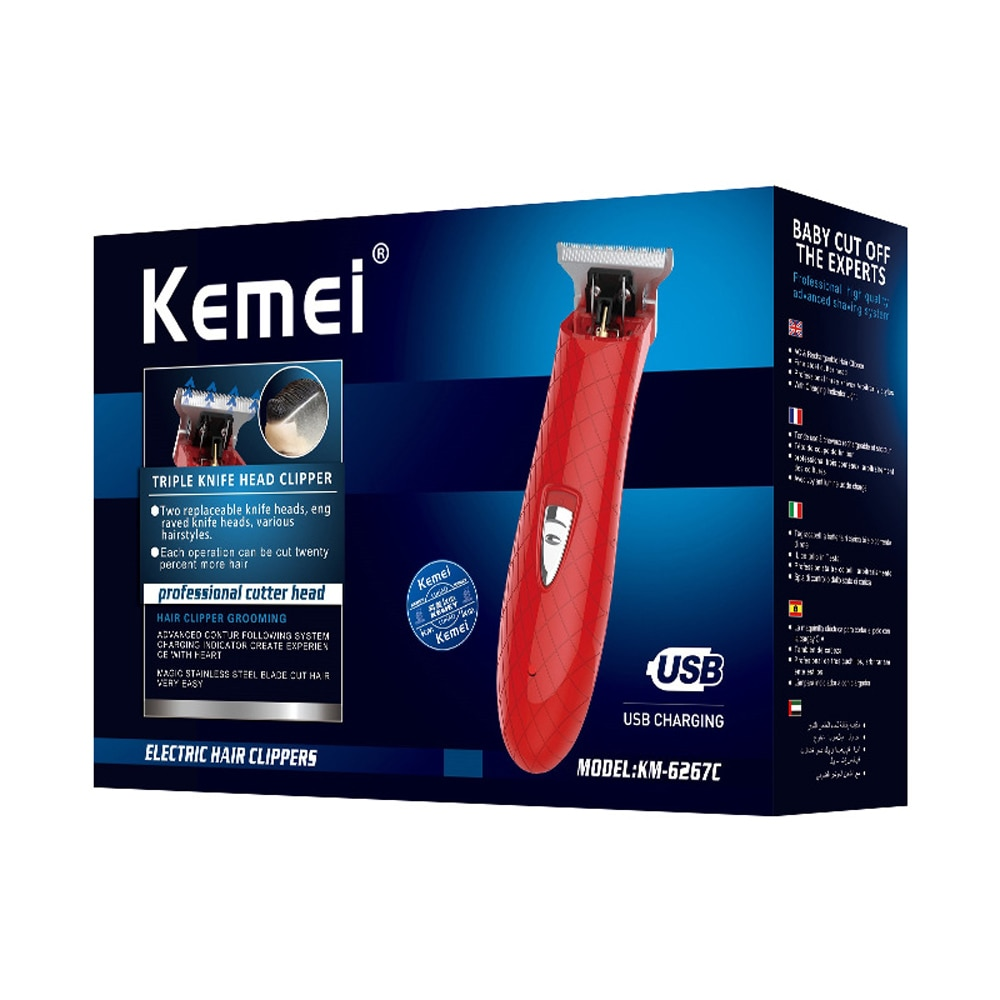 Potente afeitadora de cabeza calada de 0mm Kemei para hombres, acicalamiento inalámbrico, cortador de punta estrecha, Barbershop, detalle, afeitadora de esqueletos transparentes