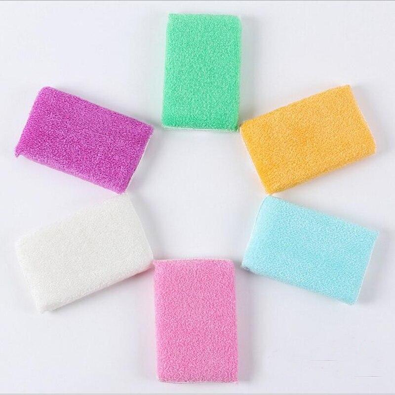 50 unids/lote ANTI-grasienta fibra de bambú envoltura esponja lavado plato cepillo, la magia de multi-función/esponja de limpieza