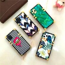 Mode Carré Coloré pour iphone XS MAX X XR 6S 7 Plus 8 Couverture De Fleurs Lèvres pour Samsung Galaxy S20 Note 10 9 8 S8 S9