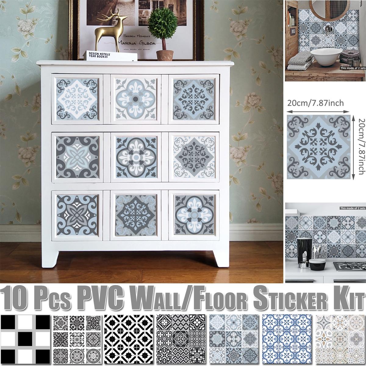 10 piezas/kit de Arte de PVC de Marruecos pegatina de pared a prueba de agua Decoración de cocina azulejos de baño Mural pared ducha muebles etiqueta D30