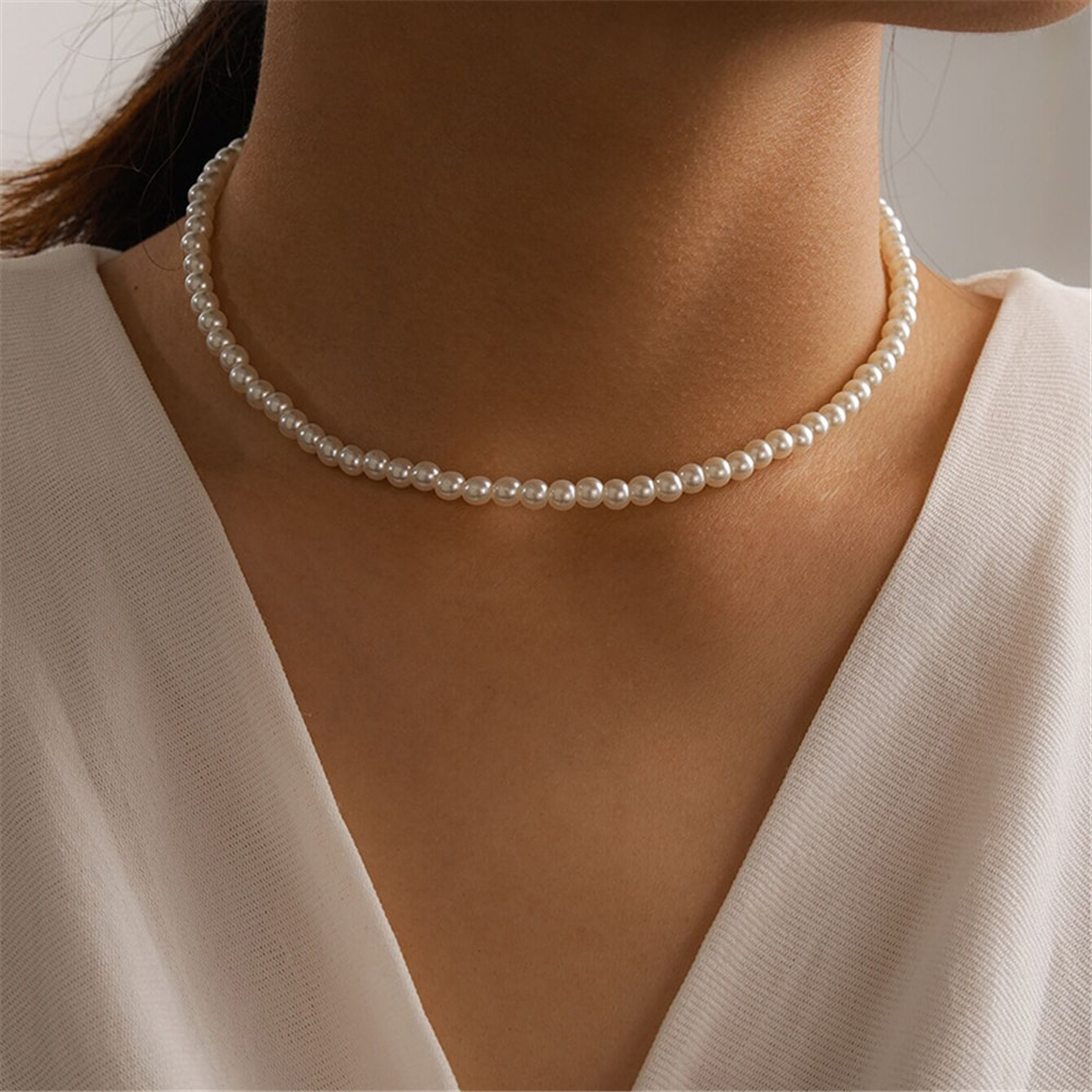 Elegant White Imitation Pearl Choker Necklace Round Pearl Wedding Necklace For Women Charm Fashion Jewelry