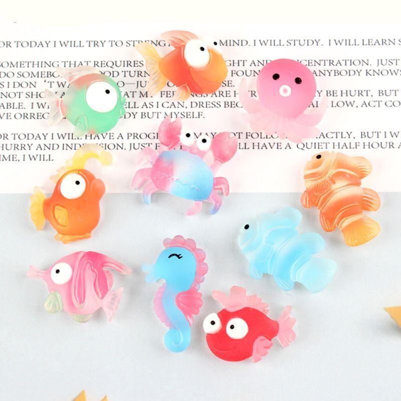 30 Uds serie con diseño marino cabujón de resina transparente bonito pez cangrejo caballito de mar pulpo Flatback Slime encantos para manualidades DIY