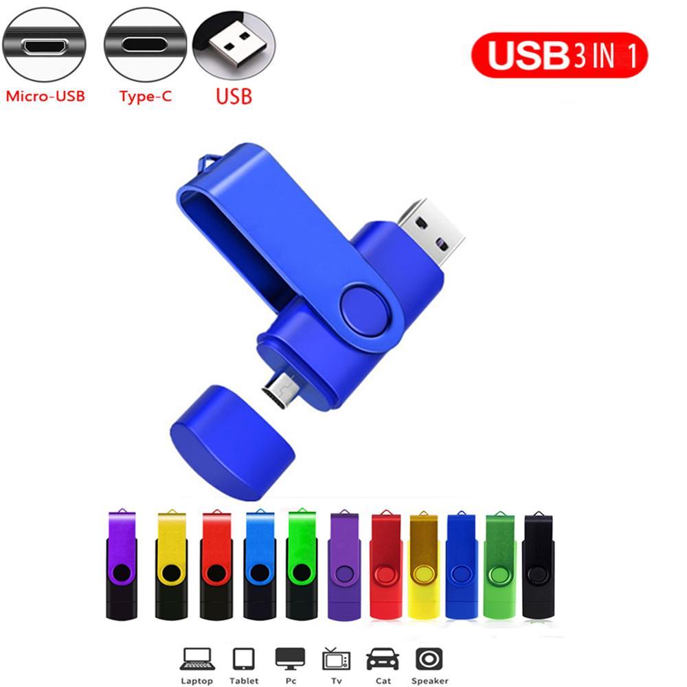 OTG 3 IN 1 pen drive 128GB Type-C usb 2.0 memory stick 64GB pendrive 32GB Micro usb flash pen 16GB cle usb Key flash drive 8GB