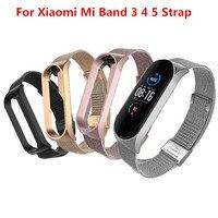 Браслет Mi band 5 4 3 с металлическим ремешком для Xiaomi Mi Band 3 4 5 Безвинтовой Mi Band 4 3 браслет MiBand наручный браслет smart Band4 сталь
