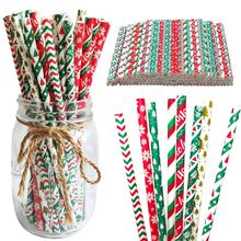 Tea Multicolor Biodegradable Holiday Themed Disposable Drinking Straws Bar Tools Christmas Decoratio