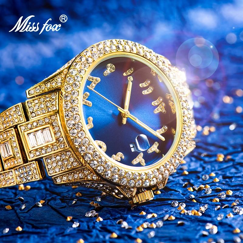 MISSFOX Men's Wrist Watch Diamond Top Selling Blue Watch Men Waterproof Brand Luxury 18k Gold Calend