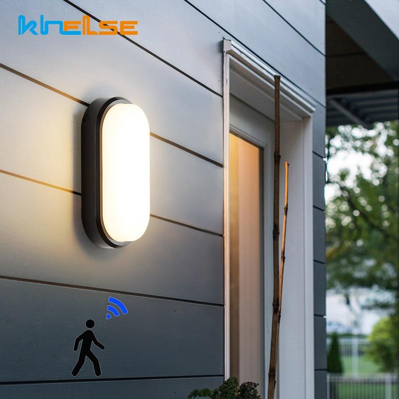 Sensor de movimiento PIR, lámparas de pared impermeables para exteriores IP54, luces para balcón, porche, 16W, 20W, lámpara de humedad ovalada, decoración de baño