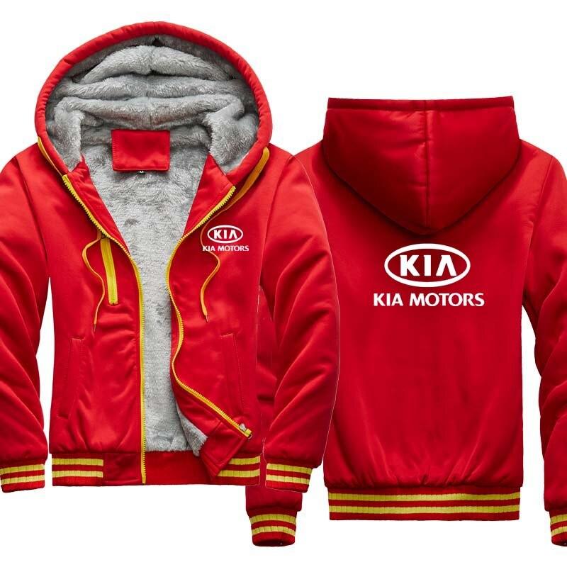 2020 novo inverno do hoodie dos homens kia logotipo do carro impressão casual mais veludo espessamento com capuz jaqueta com zíper masculino roupas