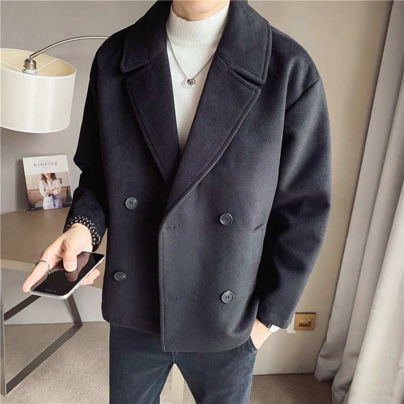Gabardina larga informal Para Hombre, abrigo de calle a la moda, abrigo...