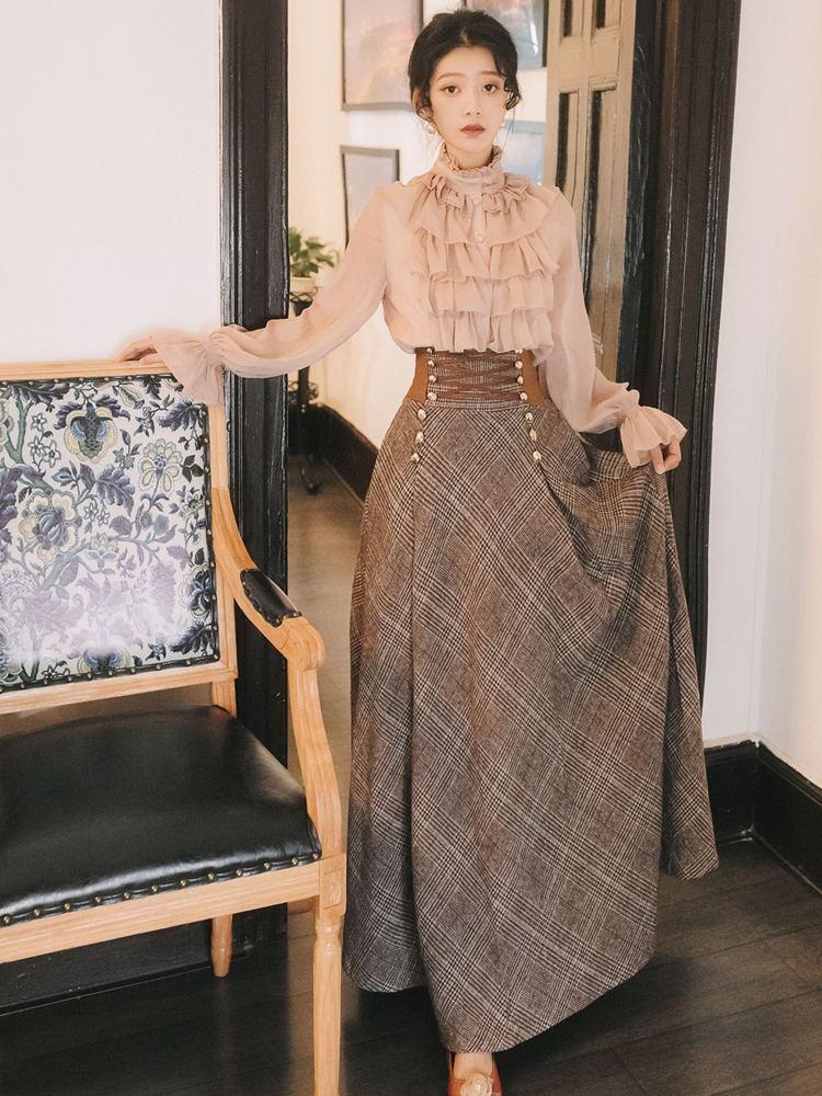 Весенний комплект из двух предметов, женская шифоновая блузка с рукавом-фонариком и твидовая клетчатая элегантная юбка карандаш, корейский...