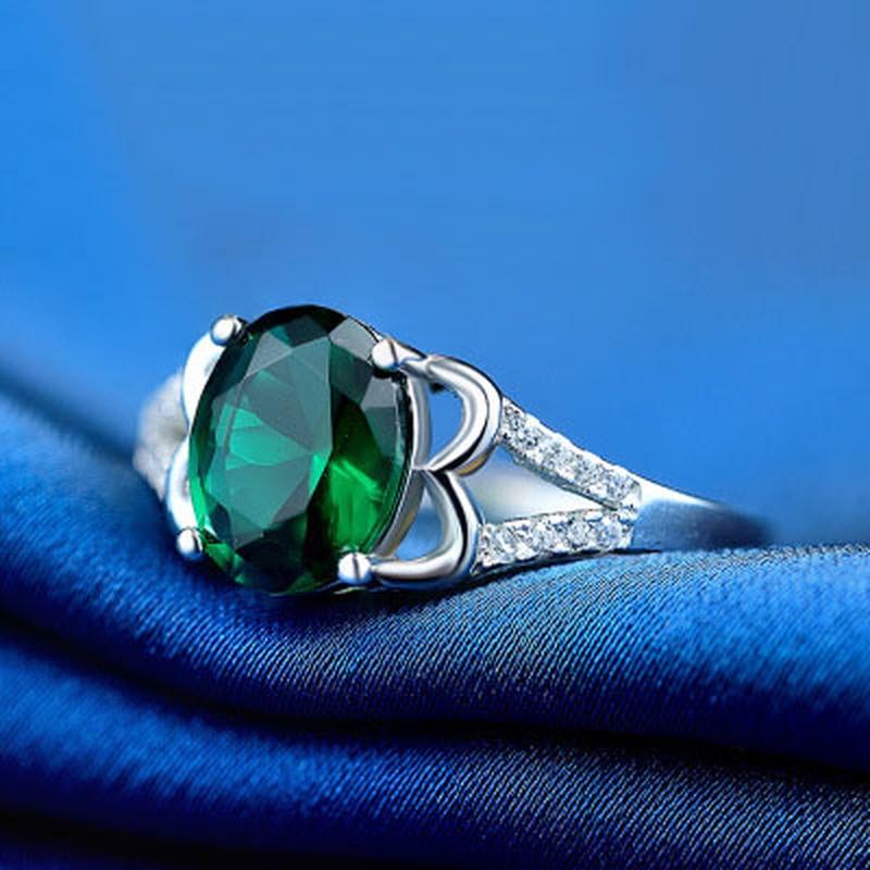 LOYE Criativo 925 Sterling Silver Emerald Anéis de Zircão para As Mulheres Moda S925 Banda Anéis de Noivado Fine Jewelry Wendding