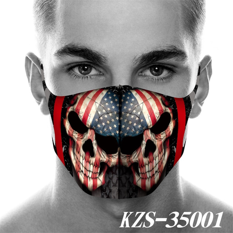 masque Funny Skeleton Printed Mask Cosplay Accessories Seamless Dustproof Foggy Haze Print Masks Motorcycle PM025