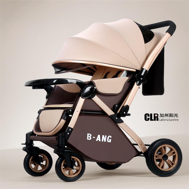 عربة أطفال بعمر 0-3 سنوات يمكن الجلوس والاستلقاء ومظلة للأطفال قابلة للطي وممتصة للصدمات بأربعة عجلات وعربة ذات اتجاهين للأطفال