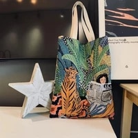 jacquard canvas shopping bag new reusable shopping bag for women large folding tote unisex jacquard canvas tote bag
