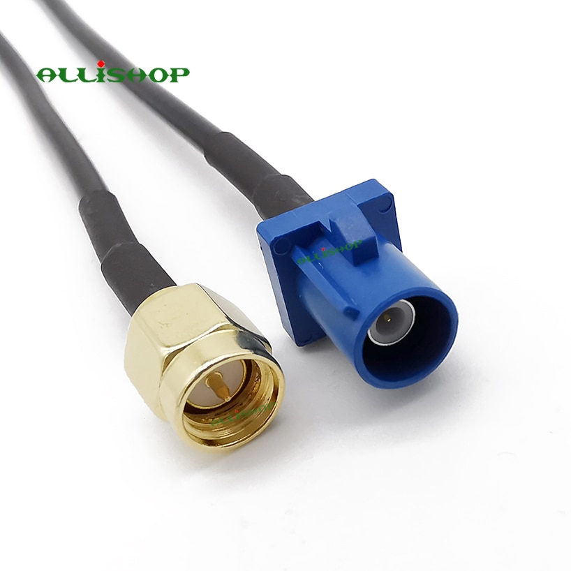 ALLiSHOP SMA macho a Fakra C macho RG174 cable conjunto Jumper cola de cerdo 10 cm/15/20/30 /50 cm/1 m SMA macho a Fraka C RG174 Cable