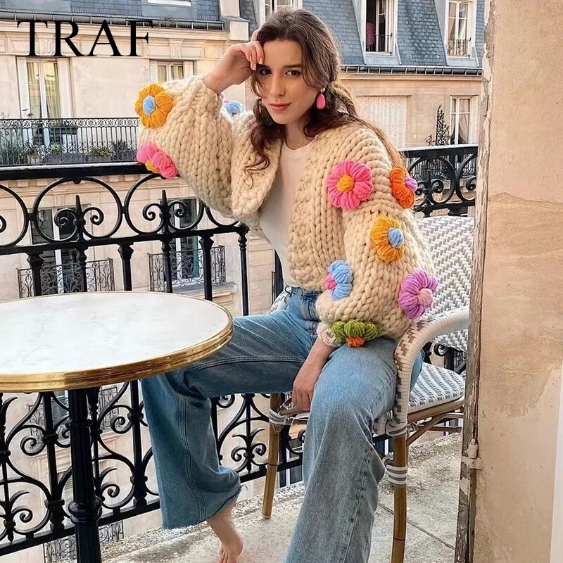TRAF ZA 2021 Autumn Women's Sweater Sweet Cute Cardigan Knitted Crochet Green Sweater Top Female Patchwork Open Stitch Chic Coat enlarge