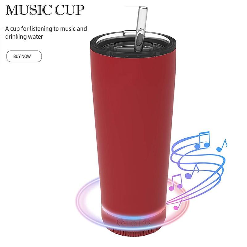 بلوتوث الموسيقى كأس كأس نبيذ مع المتكلم عالية الصوت الفولاذ المقاوم للصدأ الذكية زجاجة ماء درينكوير دروبشيبينغ
