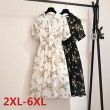 Big Size Dress Women Summer Large Size Short Sleeve Print Chiffon Tunic Long Dress Plus Size Fat MM