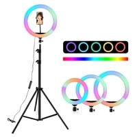 10 inch 33cm rgb02 ring light with tripods 15light colors rainbow ring light colorful lighting for vlogging videos mobile pc
