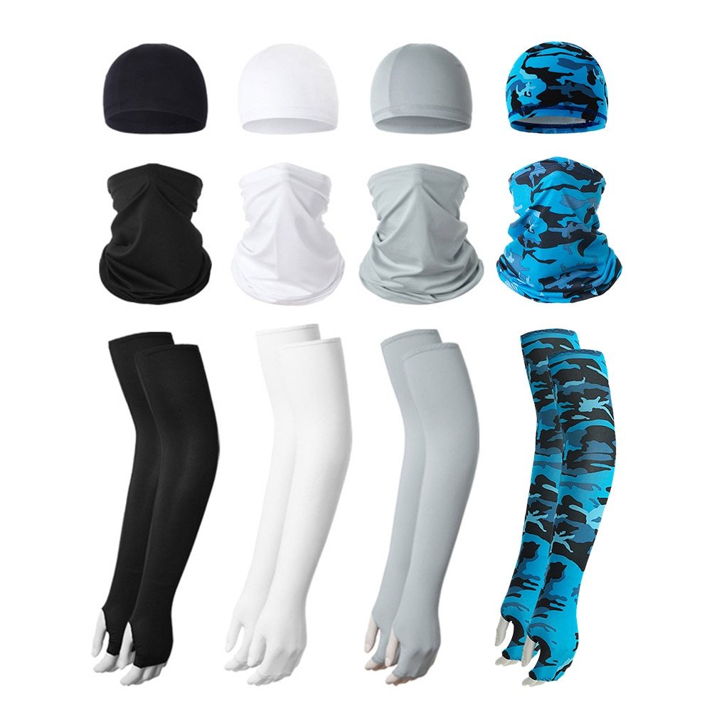 3Pcs Outdoor Arm Sleeves UV Protection Cap Face Cover Set Sunscreen for Cycling Driving Riding Protective Covers