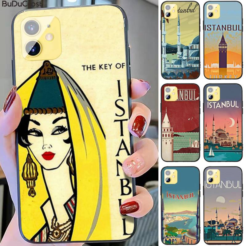 Turkey Istanbul travel poster Phone Case for iPhone 11 pro XS MAX 8 7 6 6S Plus X 5S SE XR case