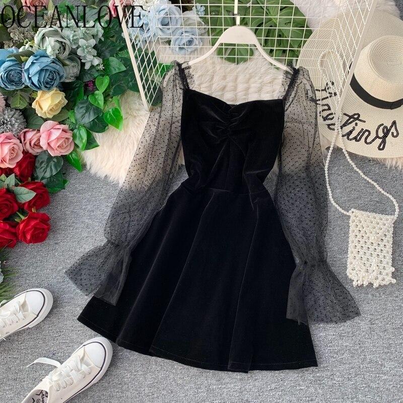 OCEANLOVE, vestido de fiesta de terciopelo, Vestidos sexis ceñidos de retales de malla para mujer, Vestidos coreanos de línea a de primavera 2020, Vestidos elegantes 13695