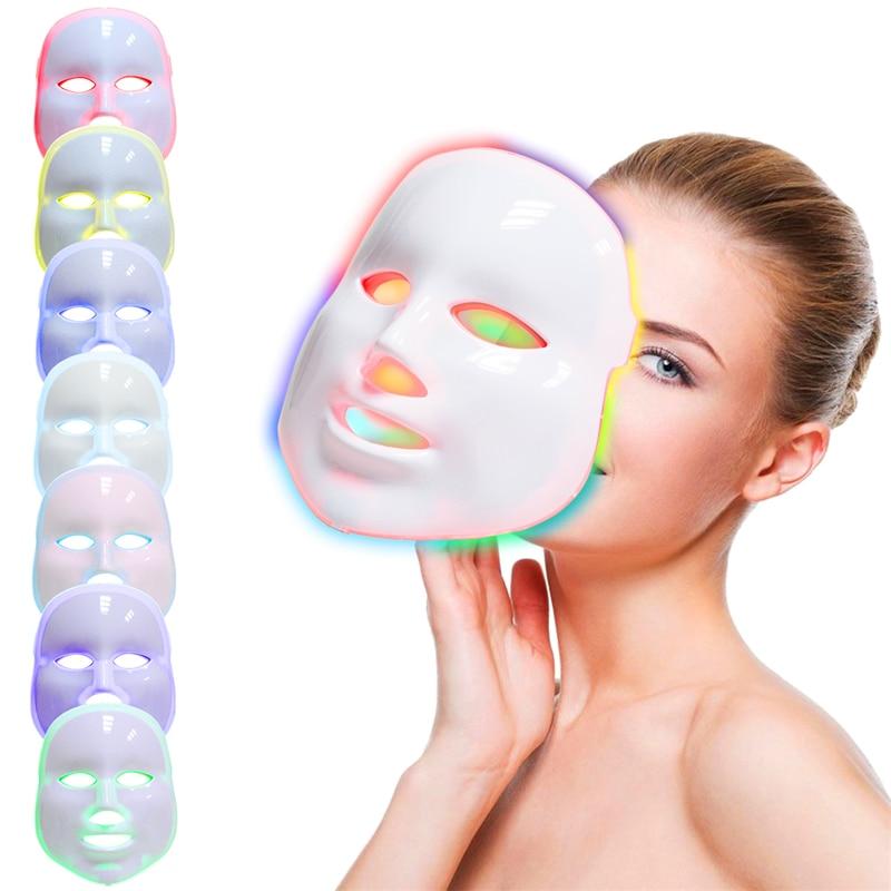 قناع فوتون للوجه LED كهربائي بضوء 7 ألوان من AOKO قناع مزيل للتجاعيد مضاد للحبوب لتجديد البشرة جهاز تجميل لصالونات التجميل في المنزل