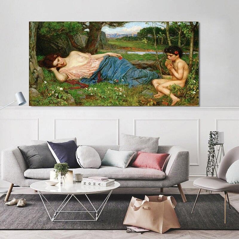 Citon William Waterhouse 《 Listening my Sweet Pipings 》 lienzo pintura al óleo ilustraciones de fama mundial imagen decoración del hogar